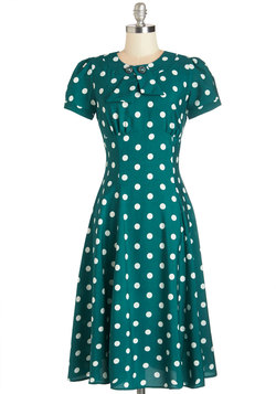 Believe It or Dot Dress in Teal