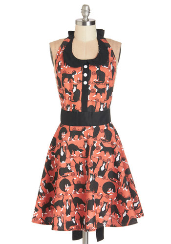 Purr-fect Taste Apron - Cotton, Woven, Multi, Cats, Good, Red, Black, Print with Animals, Buttons, Peter Pan Collar, Vintage Inspired, 50s