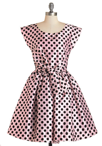 The Nicolette Dress - Pink, Polka Dots, Prom, Party, Valentine's, Homecoming, Vintage Inspired, Fit & Flare, Cap Sleeves, Woven, Exclusives, Private Label, Pink, Pockets, Belted, 50s, Pastel, Mid-length, Press Placement