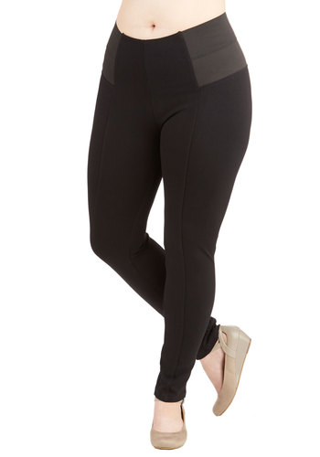 On-the-Go Glam Leggings in Black - Plus Size - Knit, Black, Solid, Minimal, Skinny, Variation