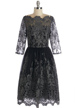 Gilded Grace Dress in Noir