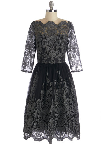Gilded Grace Dress in Noir