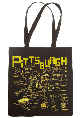 Around 'Tahn Pittsburgh Tote - Cotton, Eco-Friendly, Black, Yellow, Novelty Print, Travel, Work, Best Seller, Top Rated, Social Placements, Good, 4th of July Sale