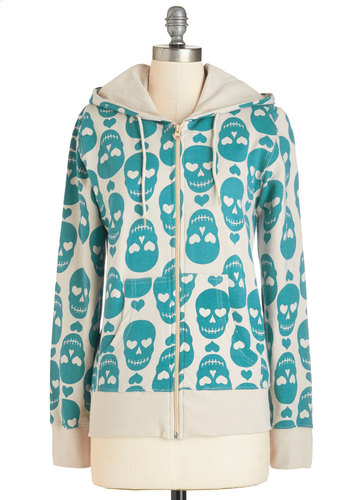 Only Have Eyes for This Hoodie - Hoodie, Brown, Cotton, Knit, Mid-length, Multi, Blue, Tan / Cream, Novelty Print, Pockets, Casual, Skulls, Long Sleeve, Top Rated, 1