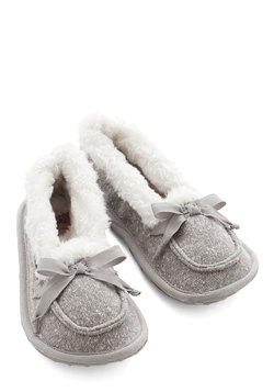 Where the Slumber Party At Slippers in Grey