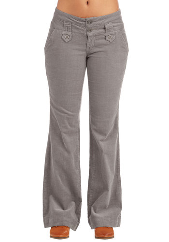 Crisp and Casual Friday Pants in Taupe - Grey, Solid, Pockets, Work, Casual, Vintage Inspired, 70s, Flare / Bell Bottom, Corduroy, Festival, Boho, Full length, Low-Rise, Top Rated