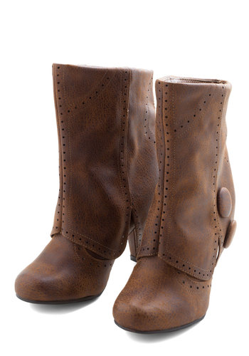 Follow in Your Footsteps Boot in Brown - Short - Solid, Buttons, Brown, Casual, Rustic, Fall, Mid, Faux Leather, Variation