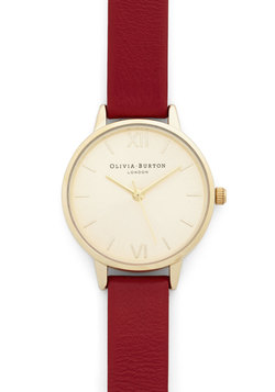 Olivia Burton Time Floats By Watch in Gold/Cherry - Petite