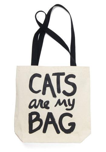 Feline Fanatic Tote - Black, Cats, Darling, Cream, Novelty Print, Gals