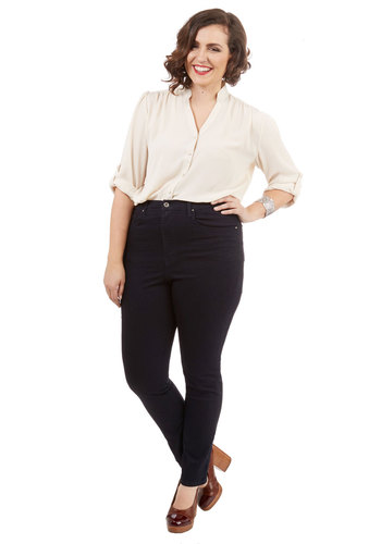 Own the Stage Jeans in Plus Size - Denim, Woven, Black, Solid, Pockets, Casual, Skinny, Basic