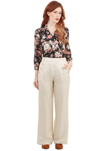 Every Opportunity Pants in Linen - Wide Leg, Good, Mid-Rise, Full length, Brown, Tan, Solid, Buttons, Pockets, Casual, Nautical, Spring, Summer, High Waist