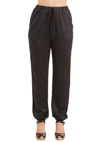 In the Name of Luxury Pants - Tapered Leg, Good, High Rise, Full length, Black, Non-Denim, Satin, Woven, Black, Solid, Pockets, Casual, Ankle, Party, Holiday Party
