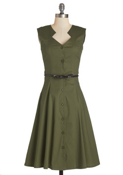 Knack for Numbers Dress in Moss