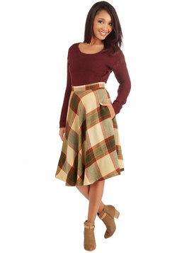 Simple Math Skirt in Autumnal Plaid