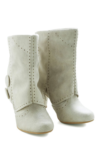 Follow in Your Footsteps Boot in Cream - Short - Cream, Solid, Buttons, Mid, Faux Leather, Good, Casual, Rustic, Fall, Variation