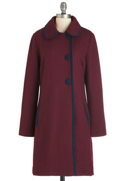 City Light the Way Coat in Burgundy