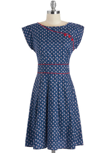 1930s dresses fashion Topiary Tour Dress in Flourished Navy