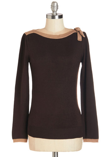 Cute on Cue Sweater in Taupe and Chocolate