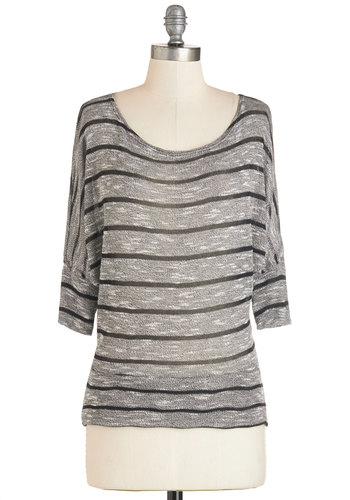 Art Admirer Top in Black & White - Grey, Short Sleeve, Mid-length, Knit, Tan, Stripes, Casual, Short Sleeves, Variation