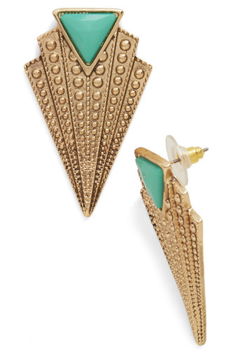 Gracefully Glam Earrings - Mint, Solid, Vintage Inspired, 20s, 30s, Gold, Exclusives
