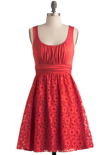 Artisan Iced Tea Dress in Hibiscus - Red, Solid, Casual, A-line, Scoop, Summer, Knit, Valentine's, Lace, Sundress, Maternity, Best Seller, Full-Size Run, Short, Sleeveless, Good