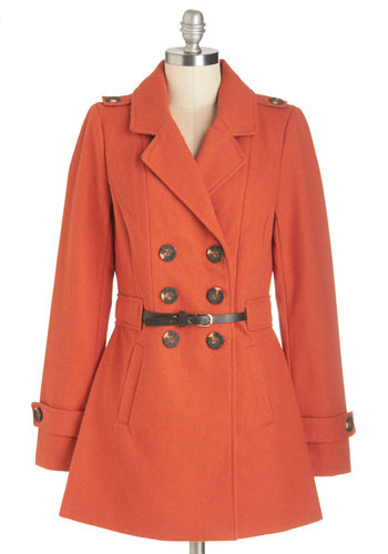 Wild and Dine Coat - Orange, Solid, Buttons, Epaulets, Pockets, Belted, Double Breasted, Long Sleeve, Fall, Military, Orange, 3, Long