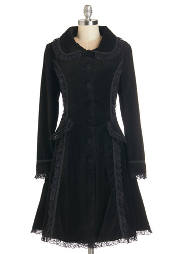 History of Haute Style Coat - Black, Solid, Buttons, Lace, Pockets, Ruffles, Trim, Special Occasion, Party, Cocktail, Holiday Party, Vintage Inspired, French / Victorian, Steampunk, Long Sleeve, Winter, Cotton, 20s, Black, Fall, Best, 3, Long