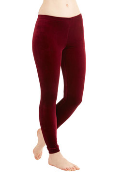Fare Thee Velvet Leggings in Red