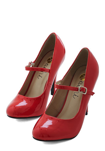 Patent Office Heel in Ruby - Red, Solid, Buckles, Party, Work, Casual, Variation, High, Faux Leather, 60s, Best Seller, Girls Night Out, Good, 4th of July Sale