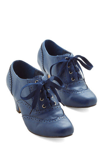 Dance Instead of Walking Heel in Blue - Blue, Solid, Vintage Inspired, 20s, 30s, Lace Up, Mid, Exclusives, 60s, Winter, Best Seller, Top Rated, Good, 4th of July Sale