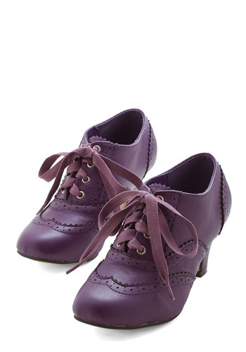 Dance Instead of Walking Heel in Purple - Solid, Menswear Inspired, Vintage Inspired, 20s, 30s, Mid, Lace Up, Faux Leather, Exclusives, Purple, Work, 60s, Party, Best Seller, Social Placements, Good, 4th of July Sale