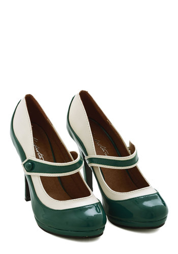'S Marvelous Heel in Evergreen - Green, Tan / Cream, Party, Work, Holiday Party, Daytime Party, Film Noir, Menswear Inspired, Pinup, Vintage Inspired, 30s, 40s, 50s, 60s, High, Faux Leather, Mary Jane, Exclusives, Variation, Best Seller, Scholastic/Collegiate, Good, 4th of July Sale