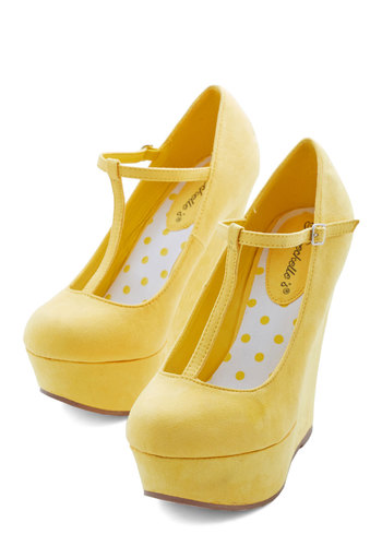 Take It from the Taupe Wedge in Sunshine - High, Faux Leather, Woven, Yellow, Solid, Party, Good, Platform, Wedge, T-Strap, Variation, Spring, Top Rated