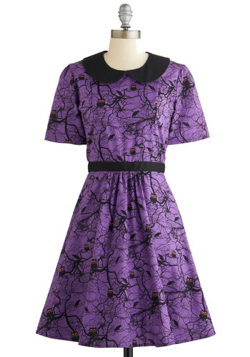 Howls and Owls Dress - Purple, Black, Print with Animals, Peter Pan Collar, Casual, A-line, Short Sleeves, Better, Collared, Halloween, Critters, Woodland Creature, Woven, Owls, Mid-length
