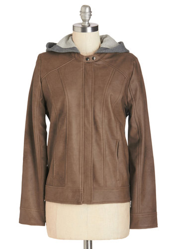 Freewheeling Jacket by Jack by BB Dakota - Brown, Long Sleeve, Faux Leather, Brown, Urban, Solid, Pockets, Casual, Better, 2, Short