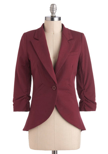Fine and Sandy Blazer in Burgundy - Red, Solid, Buttons, Pockets, Menswear Inspired, 3/4 Sleeve, Cotton, Work, Variation, 1, Press Placement, Short