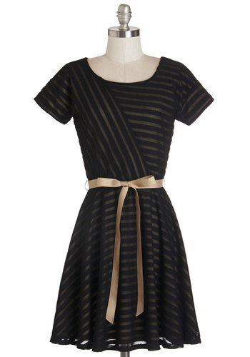Glamorous Gathering Dress - Tan / Cream, Black, Stripes, Belted, A-line, Short Sleeves, Knit, Better, Scoop, Mid-length, Party