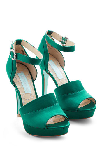 Strutting in Satin Heel by Betsey Johnson - High, Satin, Green, Solid, Rhinestones, Special Occasion, Prom, Wedding, Holiday Party, Bridesmaid, Ankle, Peep Toe, Party, Girls Night Out