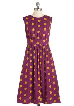Too Much Fun Dress in Burgundy Dots - Long