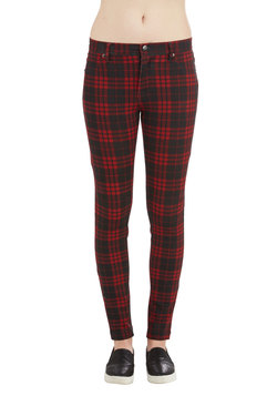 Grab a Good Read Pants in Red Plaid