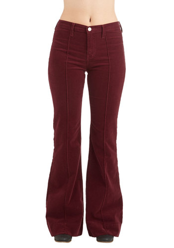 Rocking Major Cords Pants in Barn Burgundy - Woven, Corduroy, Cotton, Solid, Pockets, Casual, Boho, Vintage Inspired, 70s, High Waist, Better, Mid-Rise, Full length, Red, Flare / Bell Bottom, Exclusives, Variation, Red, Fall, Winter, WPI