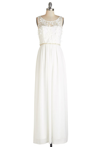 Wed and Where Dress - White, Gold, Beads, Embroidery, Pearls, Special Occasion, Wedding, Bride, Homecoming, Maxi, Sleeveless, Woven, Better, Scoop, Long, Lace