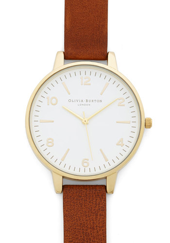 Excuse Me, Miss Watch by Olivia Burton - Tan, White, Gold, Solid, Casual, Minimal, Best, Leather, Work, Gals, Travel