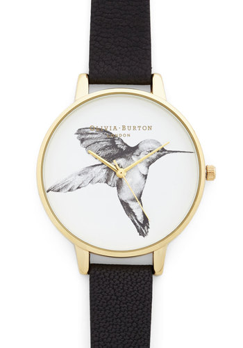 Humming Home Watch by Olivia Burton - Black, White, Gold, Print with Animals, Casual, Best, Gals, Gold, Critters, Travel