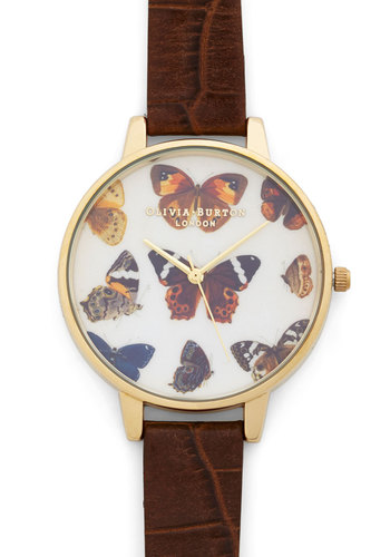 Olivia Burton Fashion Takes Flight Watch by Olivia Burton - Luxe, Critters, Gold, Leather, Brown, Print with Animals, Gals, Travel