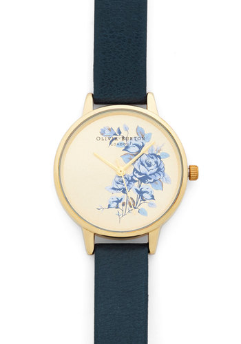 Flowers Fly By Watch by Olivia Burton - Blue, Luxe, Gold, Leather, Floral, Gals, Travel