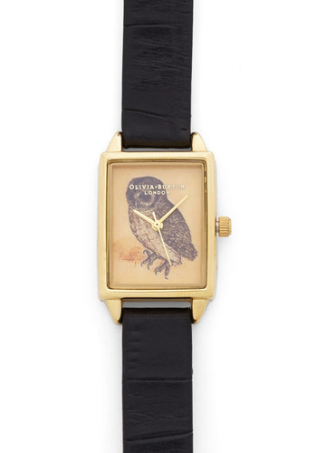 Hoot Has the Time? Watch by Olivia Burton - Owls, Luxe, Gold, Leather, Black, Print with Animals, Critters, Woodland Creature, Gals, Travel