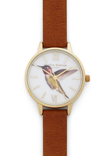 Really Humming Along Watch in Midi by Olivia Burton - Tan, White, Multi, Print with Animals, Casual, Brown, International Designer, Leather, Luxe, Critters