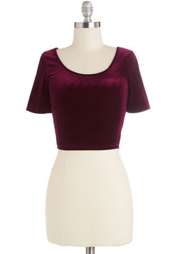 On Crop of the World Top in Garnet Velvet