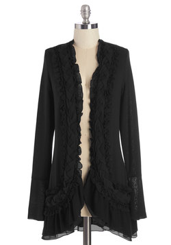 By the Flickering Firelight Cardigan in Noir